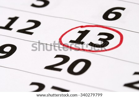 Friday the 13th calendar with red mark