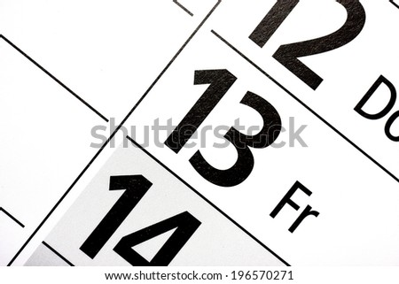 friday the 13th in a german calendar - stock photo