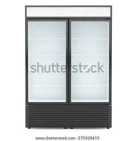 Fridge Drink with glass door on a white background - stock photo