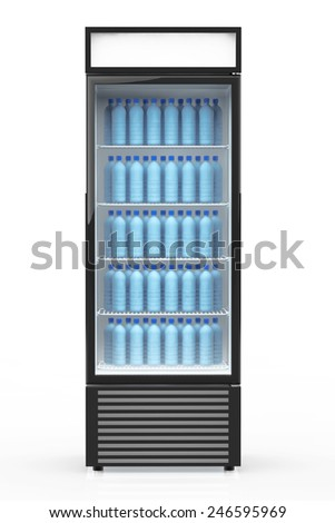 Fridge Drink with water bottles on a white background - stock photo