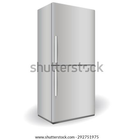 Fridge. Illustration isolated on white background. Raster version - stock photo