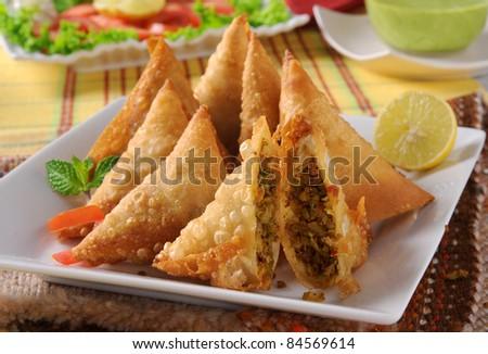 Fried Beef Samosa - stock photo