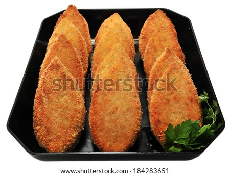 fried breaded cutlets - stock photo