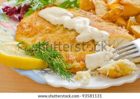 Fried breaded tilapia with aioli sauce - stock photo