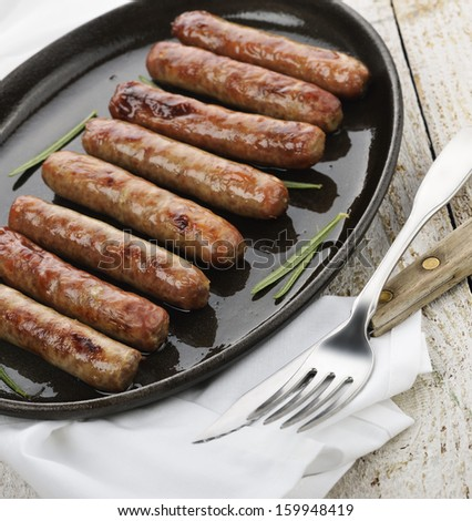 Fried Breakfast Sausage Links On A Pan - stock photo