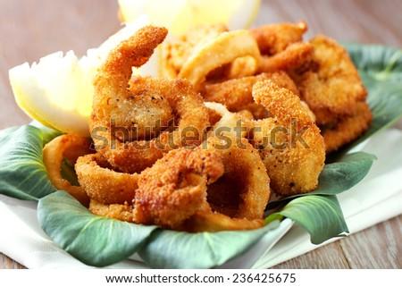 Fried calamari and shrimp - stock photo