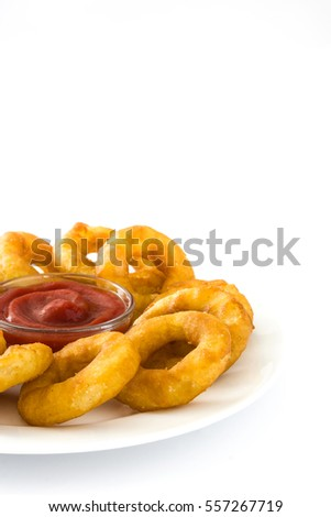 Fried calamari rings with and ketchup isolated on white background