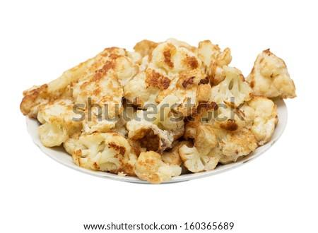 fried cauliflower on a white background - stock photo