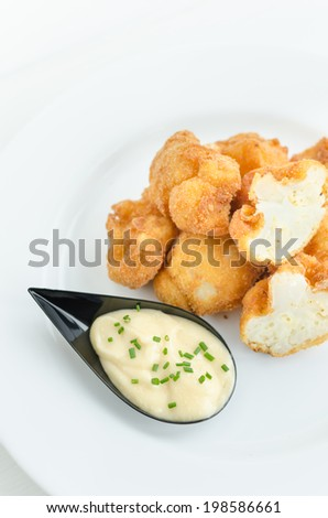 Fried cauliflower with homemade mayonnaise