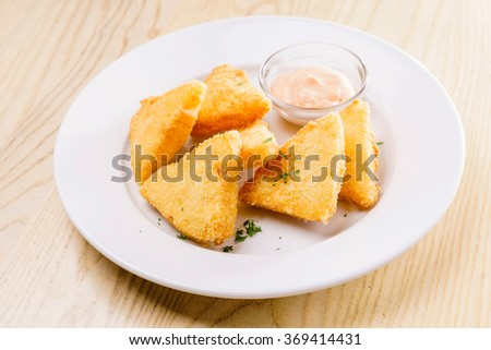 fried cheese - stock photo