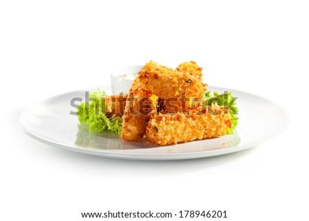 Fried Cheese Sticks with Tartar Sauce - stock photo