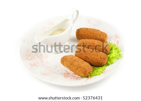 fried cheese with bacon at plate with lettuce and sauce on a white - stock photo