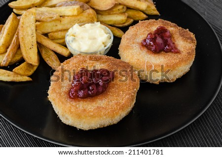 Fried cheese with home made french fries and mayonnaise - stock photo