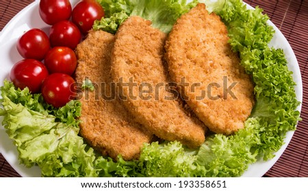 Fried chicken breast fillet in batter with lettuce on the plate  - stock photo