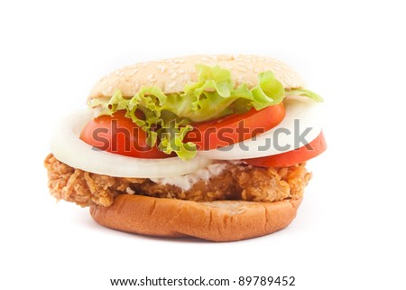 Fried chicken burger on white background - stock photo