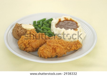 Fried chicken dinner - stock photo