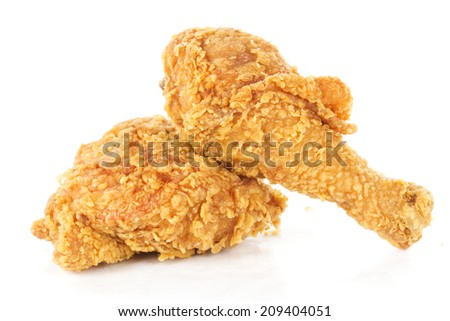 fried chicken drumsticks and hip isolated on white background   - stock photo