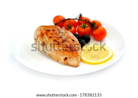 Fried chicken fillet with vegetables,  healthy eating concept