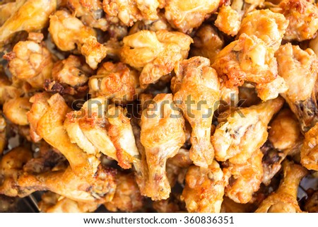 Fried chicken, Fried chicken wings piled together, The delicious chicken wings.