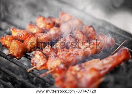 Fried Chicken kebab - traditional Thai food - stock photo