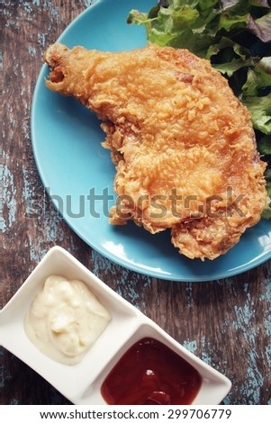 Fried chicken ketchup and mayonnaise sauce - stock photo