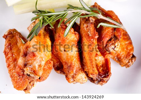 Fried chicken legs and wings
