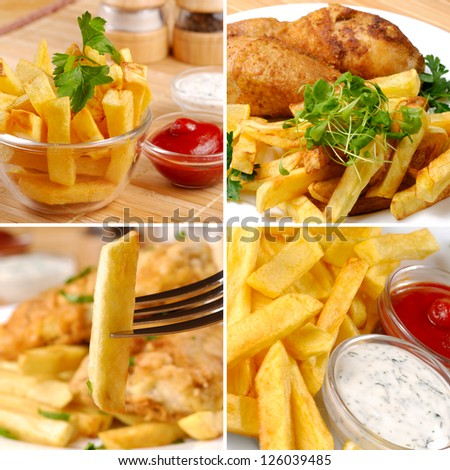 Fried chicken legs with potato chips mayo and ketchup set - stock photo