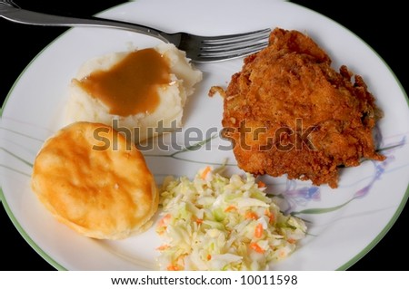 fried chicken mashed potatoes with brown gravy roll and coleslaw - stock photo