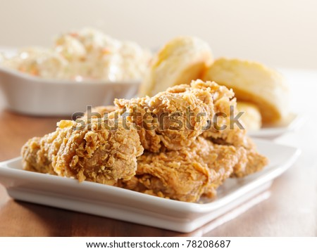 fried chicken meal - stock photo