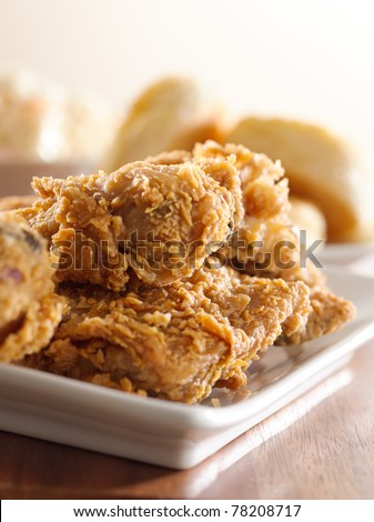 fried chicken meal closeup - stock photo