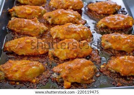 Fried Chicken New Orleans.sweet and spicy on tray ready to serve.