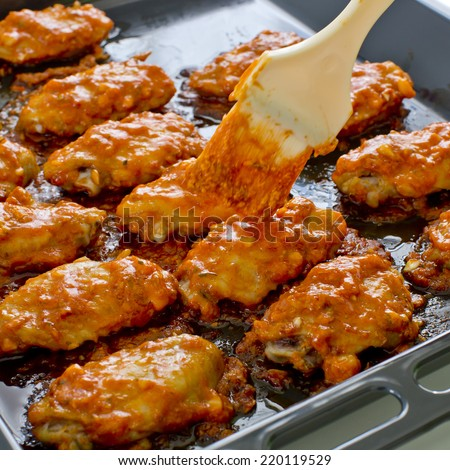 Fried Chicken New Orleans.sweet and spicy on tray ready to serve. - stock photo