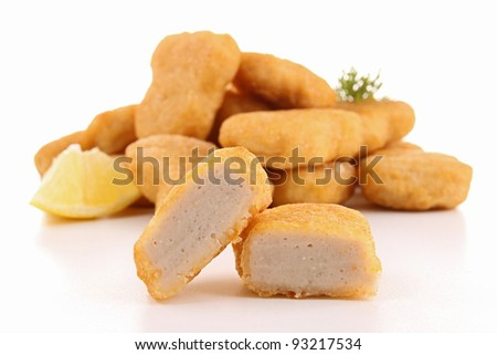 fried chicken nuggets - stock photo