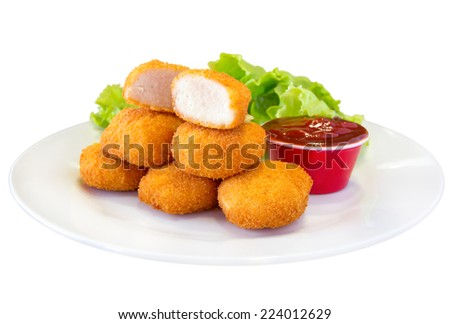Fried chicken nuggets and sauce, isolated on white. - stock photo