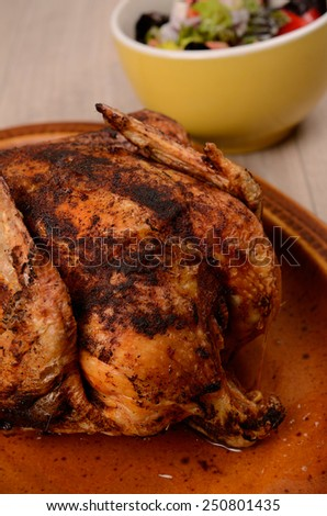 Fried chicken on a rustic plate