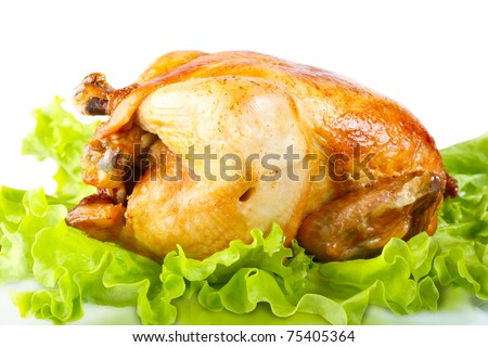 Fried chicken on a white background - stock photo