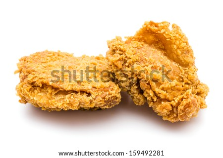 Fried chicken on white background - stock photo