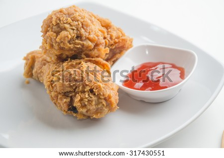 fried chicken on white background closeup  - stock photo
