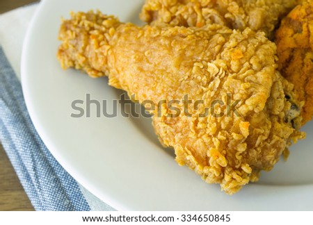 fried chicken on white plate - stock photo