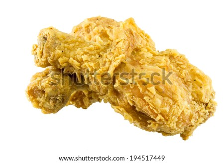 Fried chicken pieces isolated on white background