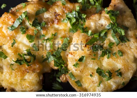 Fried chicken schnitzel with parsley on dark plate - stock photo
