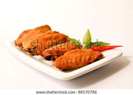 Fried chicken wing ready to be serve - stock photo