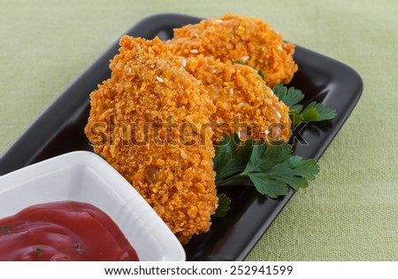 fried chicken wings, closeup - stock photo