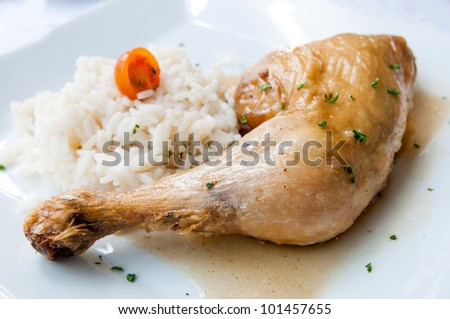 fried chicken with rice and fresh salad - stock photo
