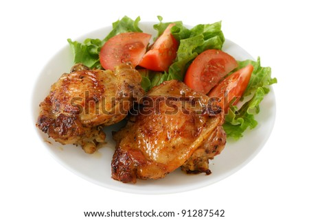 fried chicken with salad