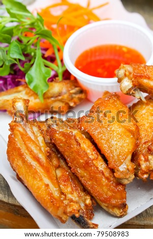 Fried chicken with salt - stock photo