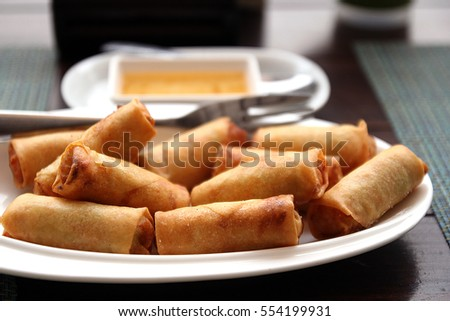 Fried Chinese Traditional Spring rolls food.