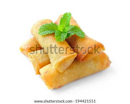 Fried Chinese Traditional Spring rolls food isolated on white background - stock photo