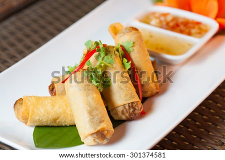Fried Chinese Traditional Spring rolls food with vegetable