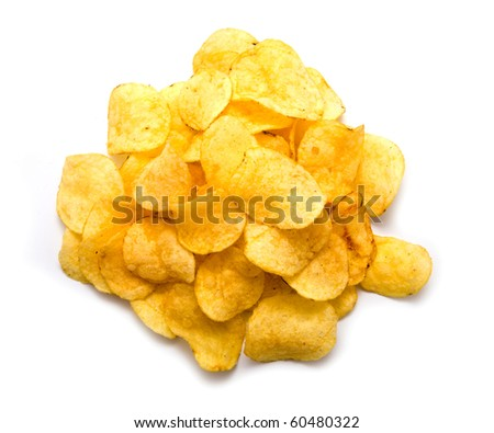 fried chips on a white background - stock photo